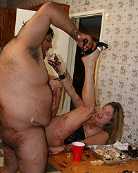 Raylee - Blond in sloppy food fuck with fat slob blowjob